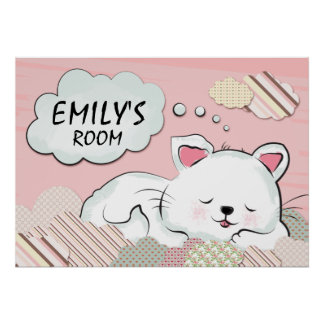 Sueños del gato con las nubes pintadas texturas posters