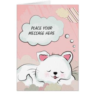 Sueños del gato con las nubes pintadas texturas tarjeta de felicitación