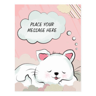 Sueños del gato con las nubes pintadas texturas tarjetas postales