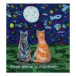 Sueños del gato y Luna Llena Poster