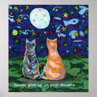 Sueños del gato y Luna Llena Póster