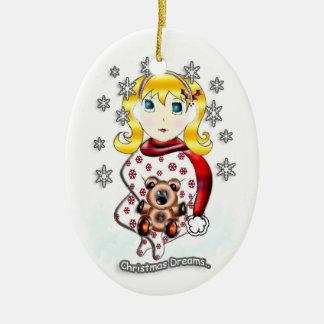 Sueños del navidad adorno navideño ovalado de cerámica