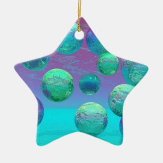 Sueños del océano - aguamarina y fantasía violeta adorno navideño de cerámica en forma de estrella