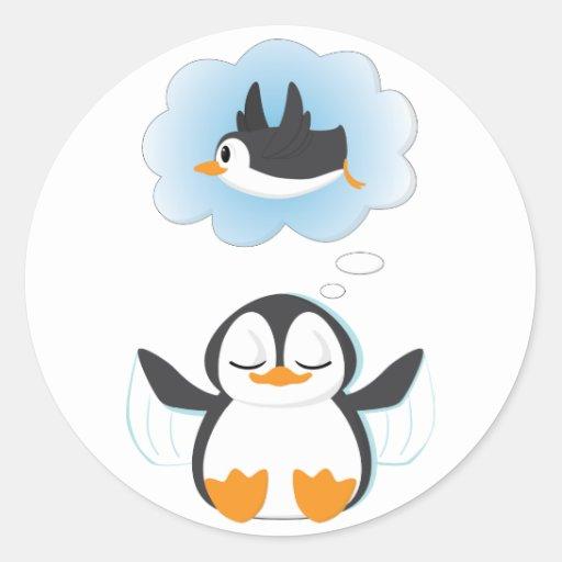Sueños del pingüino pegatina redonda