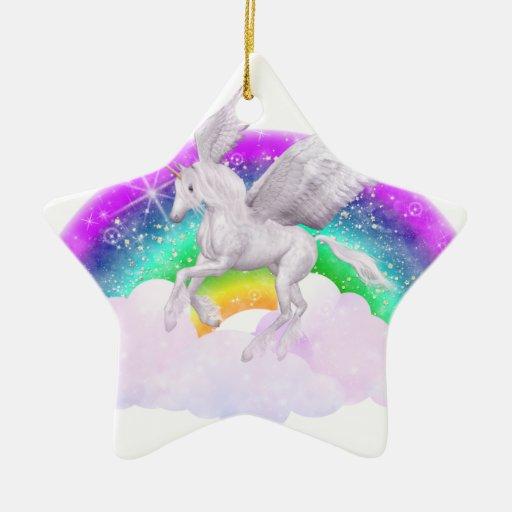 Sueños del unicornio adorno de cerámica en forma de estrella