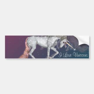 Sueños del unicornio etiqueta de parachoque