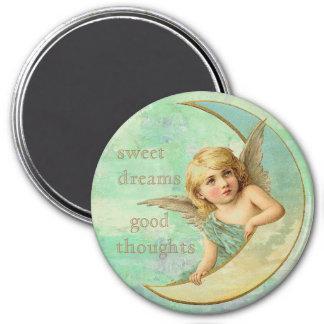 Sueños dulces, buen ángel de los pensamientos imán redondo 7 cm