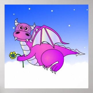 Sueños dulces - dragón púrpura lindo con la flor poster