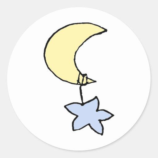 Sueños dulces - luna y estrella del bebé etiqueta redonda