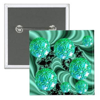 Sueños esmeralda del satén - trébol irlandés abstr pin cuadrado