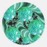 Sueños esmeralda del satén - trébol irlandés pegatina redonda