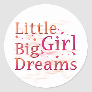 Sueños grandes de la niña pegatina redonda