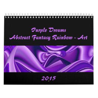 Sueños púrpuras, Arco iris-Arte abstracto de la Calendario De Pared