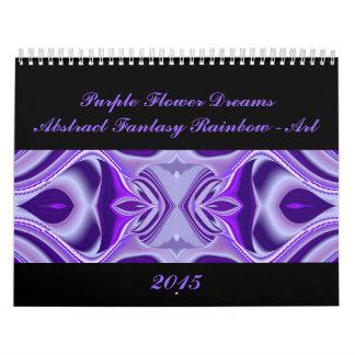Sueños púrpuras de la flor - arte abstracto del ar calendarios de pared