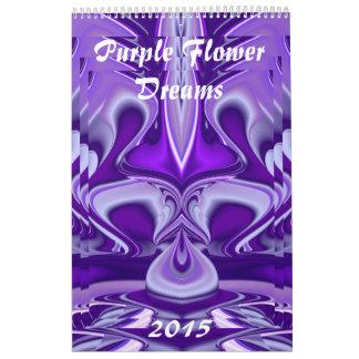 Sueños púrpuras de la flor calendarios de pared