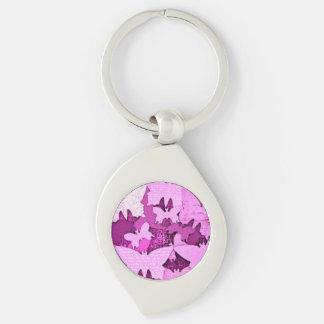 Sueños rosados de la mariposa llavero plateado en forma de espiral
