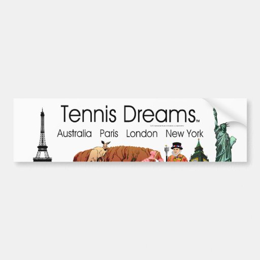 Sueños SUPERIORES del tenis Pegatina De Parachoque
