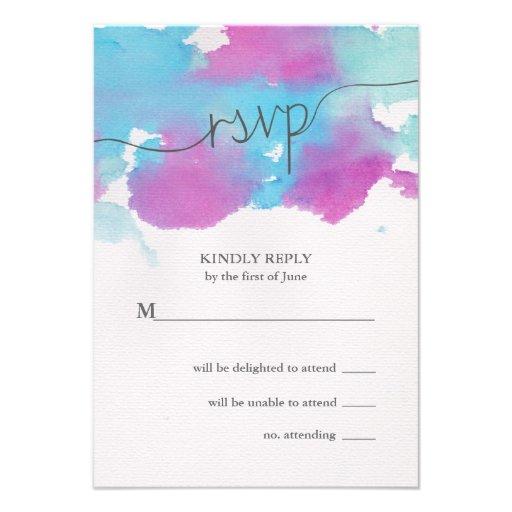 Sueños vibrantes que casan la tarjeta de RSVP Comunicado Personalizado
