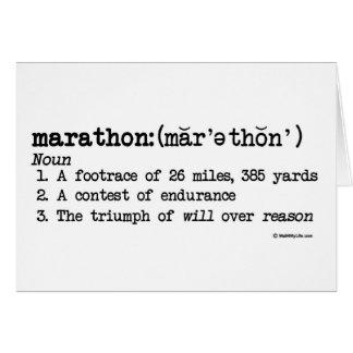 Suerte de la definición del maratón buena tarjeta de felicitación