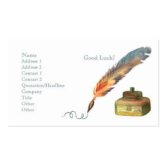 Suerte de la pluma de la pluma buena tarjetas de visita