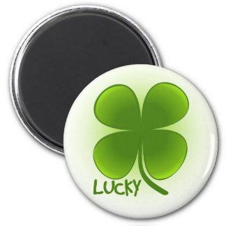 Suerte del botón irlandés del trébol imán redondo 5 cm