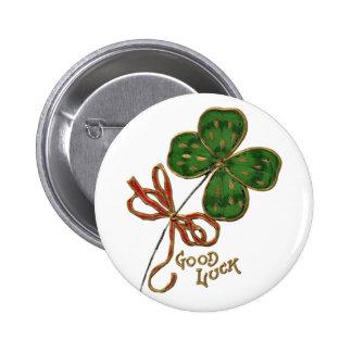 Suerte del botón irlandés pin