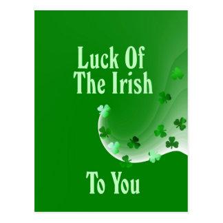 Suerte del irlandés a usted postal