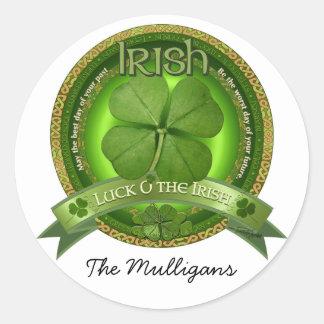 Suerte del irlandés - el día de St Patrick Etiqueta Redonda