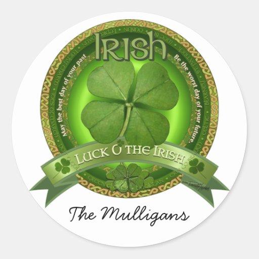 Suerte del irlandés - el día de St Patrick Pegatina Redonda