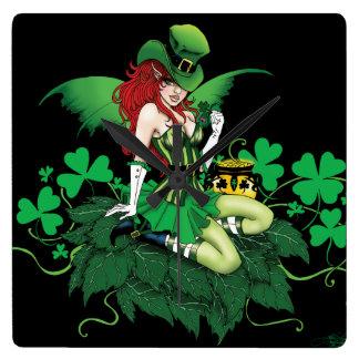 Suerte del irlandés reloj cuadrado