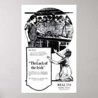 """""""Suerte"""" del poster irlandés 1920 del anuncio de l"""