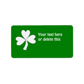 Suerte irlandesa del día de St Patrick blanco del Etiqueta De Dirección