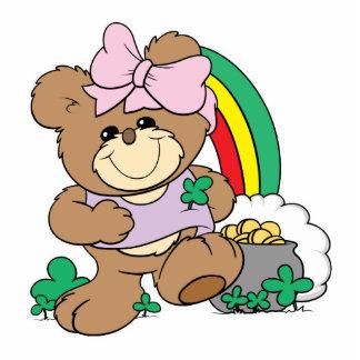 suerte linda del oso de peluche irlandés del chica llavero fotográfico