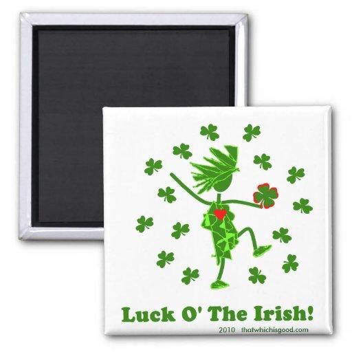 Suerte O el diseño caprichoso irlandés Imán Cuadrado