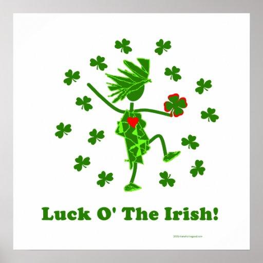Suerte O el diseño caprichoso irlandés Poster