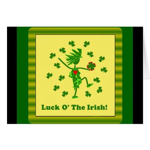 Suerte O el diseño caprichoso irlandés Tarjetas