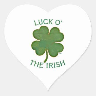 Suerte O el irlandés Pegatina En Forma De Corazón