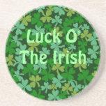 Suerte o la piedra arenisca verde irlandesa de los posavasos personalizados