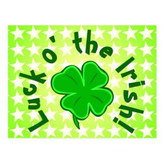 Suerte o la postal estrellada verde irlandesa
