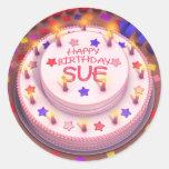 Sue's Birthday Cake Classic Round Sticker