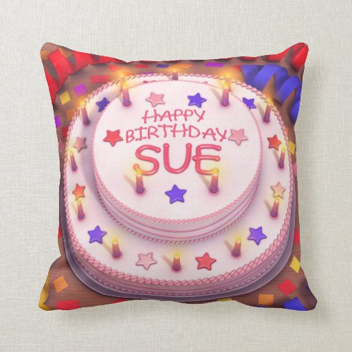 Sue's Birthday Cake Pillow