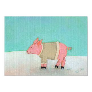 Suéter caliente del cerdo del arte del invierno de invitación 12,7 x 17,8 cm
