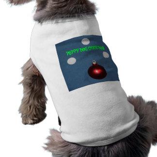 Suéter del navidad playera sin mangas para perro