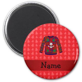 Suéter feo conocido personalizado del navidad iman de frigorífico