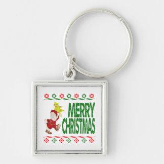 Suéter feo de Navidad del árbol de navidad de Papá Llavero Personalizado