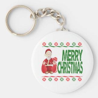 Suéter feo de Navidad del bolso del regalo de Papá Llaveros Personalizados