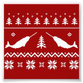 Suéter feo del navidad de Narwhal Cojinete