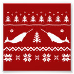 Suéter feo del navidad de Narwhal Impresión Fotográfica