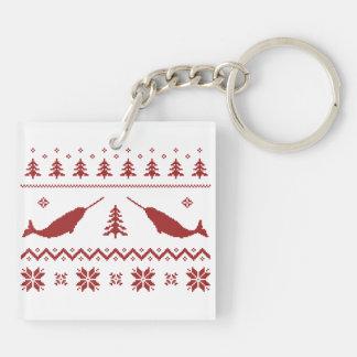 Suéter feo del navidad de Narwhal Llaveros