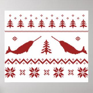 Suéter feo del navidad de Narwhal Poster